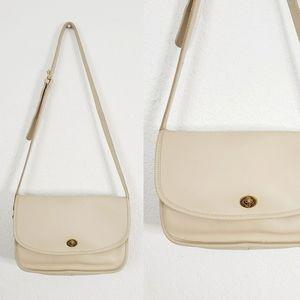 Coach Vintage Ivory Leather Saddle Crossbody Bag